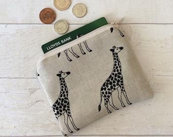 Giraffe coin purse, money purse, giraffes purse, money pouch, small zipper pouch, coin pouch, beige pouch, card wallet