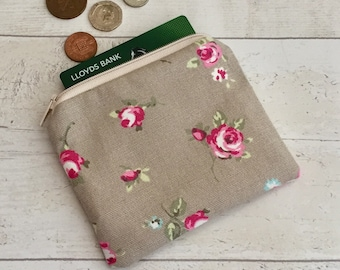 Brown rose coin purse, rosebud change purse, taupe floral card wallet, beige flower pouch, small makeup bag