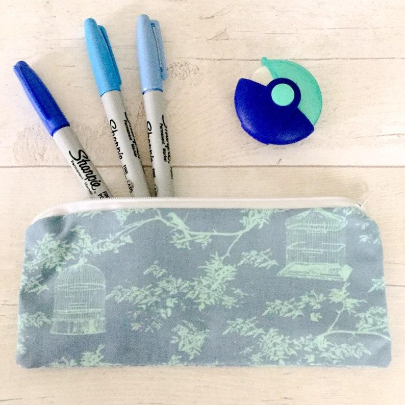 money wallet birdcage large purse bird makeup bag Blue pencil case