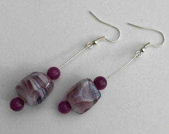 Hand Crafted Purple Beaded Earrings.