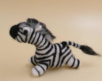 Zebra; Needle-felted zebra; Woolfelt; Miniature; Wool Sculpture; Safari;