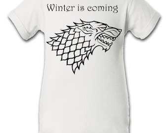5f058a2e2 Game of Thrones Stark House Inspired Onesie Infant Baby Newborn Onesie  Creeper Crawler One Piece Bodysuit 100% combed ringspun cotton