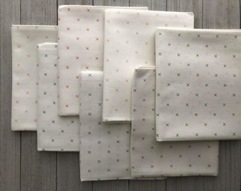 Small Print Low Volume Custom Curated Fat Quarter Bundle by Sewcial Stitch 7 Fat Quarters Modern Fabric Bundle Newsprint Map Confetti
