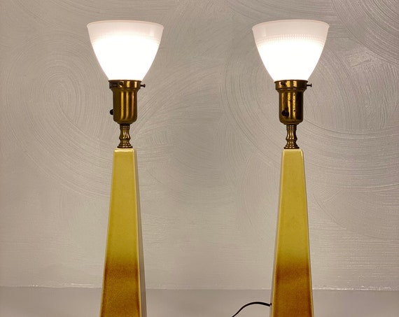 Rembrandt Obelisk Ceramic and Brass Lamps (Pair), Circa 1950s - Please see notes on shipping before you purchase.