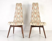 Pair of High Back Chairs quot 2051-C quot by Adrian Pearsall for Craft Associates, circa 1960s - Please see notes on shipping before you purchase.