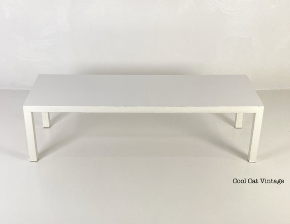 White Parsons Style Coffee Table by Lane Furniture Company, Circa 1975 - *Please see notes on shipping before you purchase.