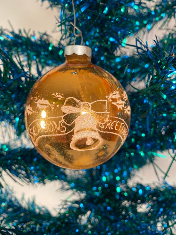 Antique Season's Greetings Holiday Ornament (#C57)