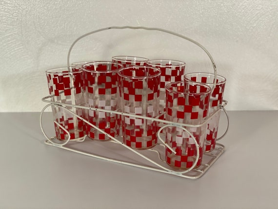 Vintage Red & White Checkered Glasses with Carrier - Set of Eight