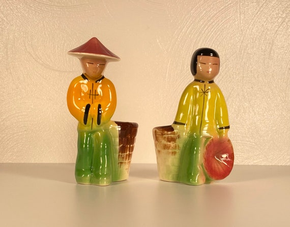 Pair of 1950's Asian Boy & Girl Planters