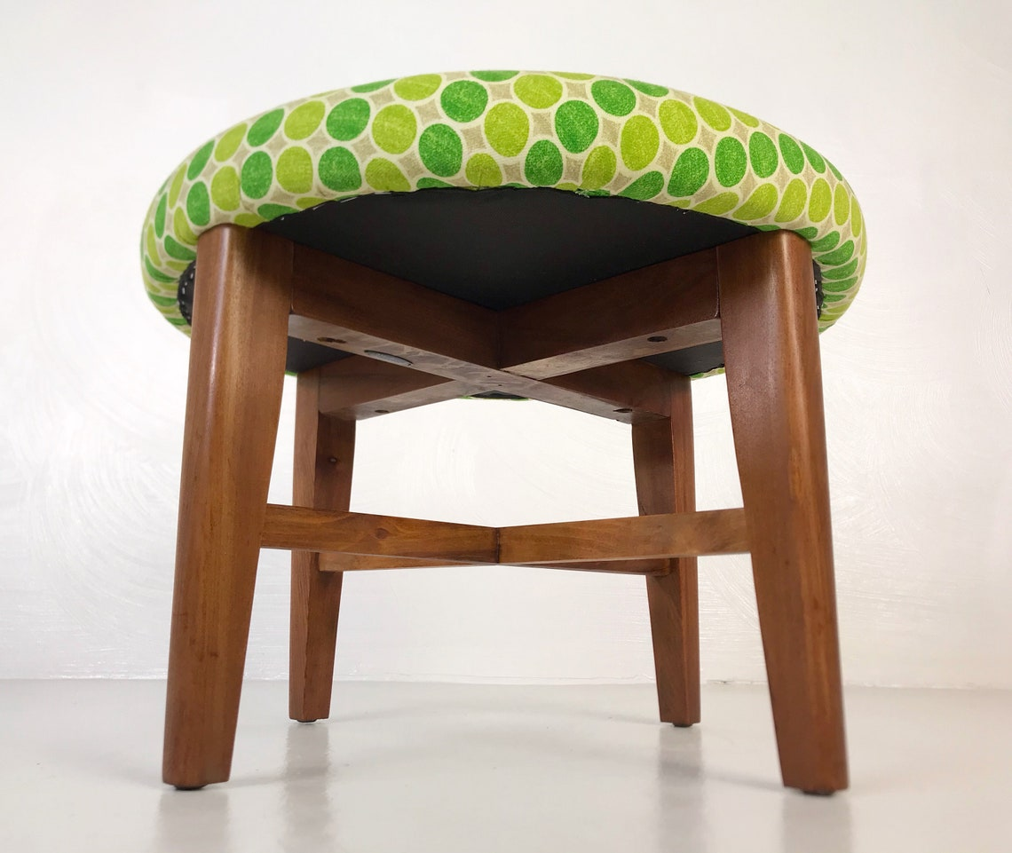 Restored 1950s Ottoman with New Foam and Fabric - *Please see notes on shipping before you purchase.