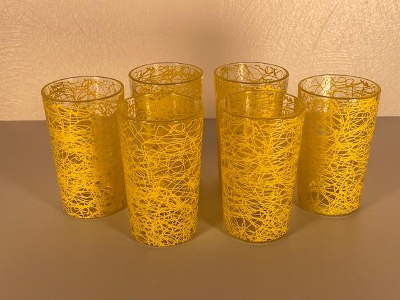 "Yellow 4"" Tall Spaghetti Drizzle Glasses - Set of Six"