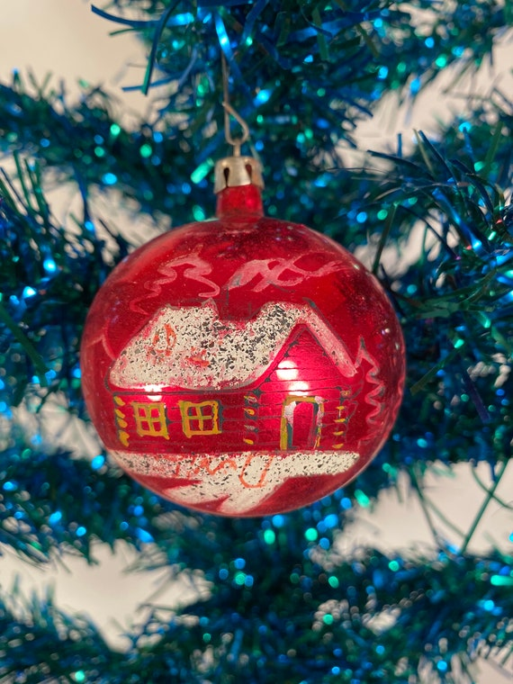 Antique Red Snow Covered Cottage Holiday Ornament - Poland (#C47)