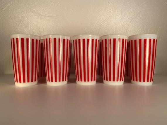 Hazel Atlas Red Stripe Milk Glass Tumblers - Set of Ten