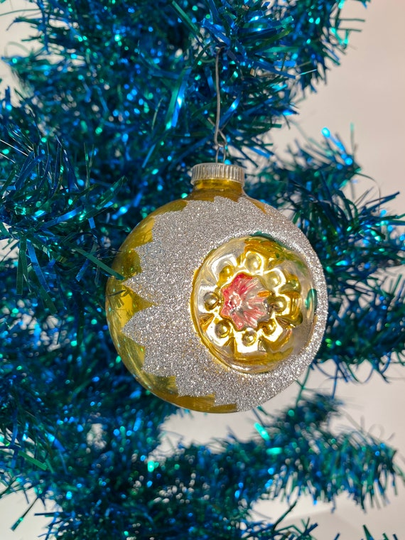 Antique Gold Concave Holiday Ornament - West Germany (#C48)