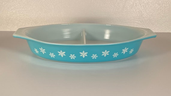 Pyrex Turquoise Snowflake #063 Divided Casserole - No Lid
