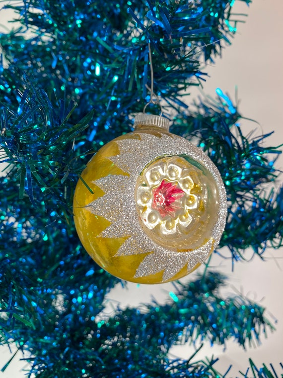 Antique Gold Concave Holiday Ornament - West Germany (#C50)