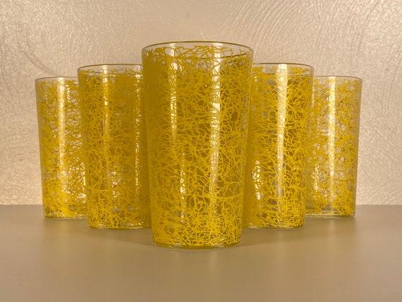 "Yellow 5"" Tall Spaghetti Drizzle Glasses - Set of Six"