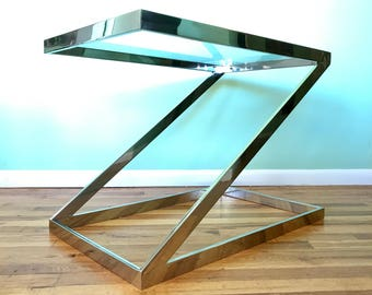 Milo Baughman Chrome Z End Table (*please see notes on shipping)
