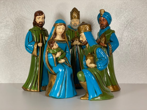 1960s Nativity Scene with 5 Paper Mache Figurines by Kurt S. Adler of New York - FREE SHIPPING