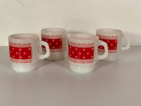 Fire King Red & White Stackable Polka Dot Mugs - Set of Four