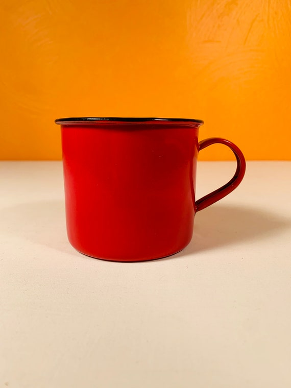 Vintage Red Porcelain Enamel Mug - Hong Kong