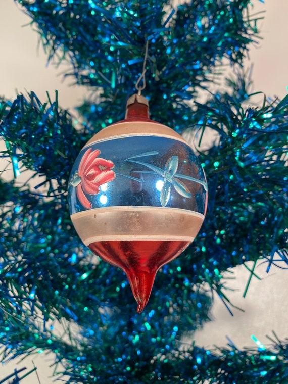 Antique Teardrop Floral Holiday Ornament - Poland (#C49)