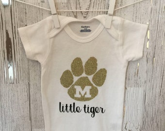 33556372f Mizzou Tigers Glitter Girls Onesie; Baby Girl MU onesie; University of  Missouri Baby Girl Onesie
