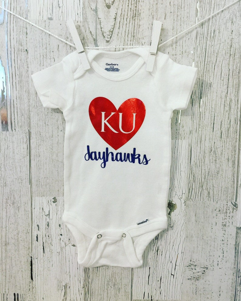 KU Jayhawk Baby Onesie  University of Kansas Onesie