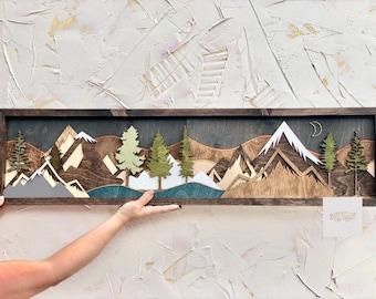 Wood Wall Art / Nursery Decor / Office Decor / Wood Art / Reclaimed Wood / Mountain Sign / Sunset / Moon Scape / Mountain Scape / Mountain