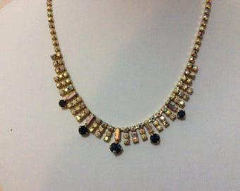 Vintage 1950's aurora borealis sapphire rhinestone necklace