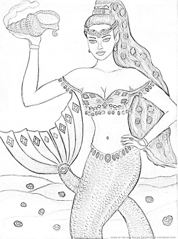 Printable Coloring Page Mermaid Genie Of The Sea By Laurie Etsy