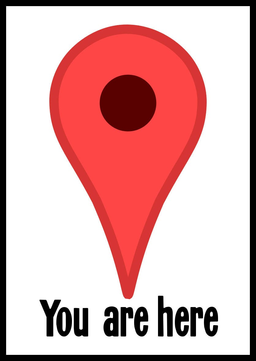 New Color Paper Sticker You Are Here Google Maps Pin Ironic Etsy
