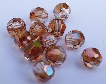 Close Out!  Crystal Copper Swarvoski Crystal, 4 mm, Round, Regular Finish, Pkg of 24