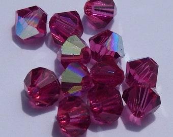 Close Out! Fuchsia Pink Swarvoski Crystal, 4 mm, Bi-Cone, AB Finish, Pkg of 24