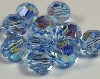 Close Out! Lt. Sapphire Swarvoski Crystal, 6 mm, AB,  Round, Pkg of 24