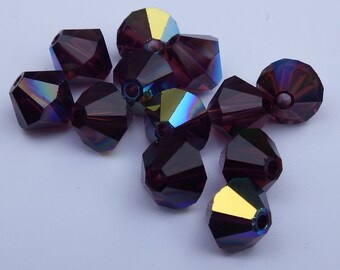 Close Out! Burgandy Red Swarvoski Crystal, 6 mm Bi-Cone, Pkg of 24 with AB Finish