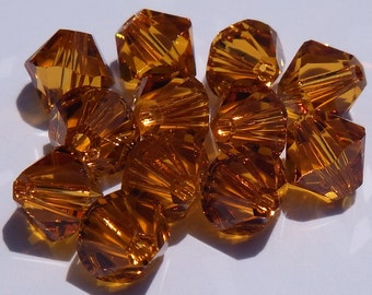 Close Out! Topaz Swarvoski Crystal, 6 mm, Bi-Cone, Pkg 24, Regular Finish or with AB Finish 5328 or 5301