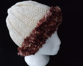 HAT Hand Knitted in Cream Aran with Bronze Faux Fur Brim. Ladies Medium to Large Size. Ladies Gift, Mothers Day Gift,