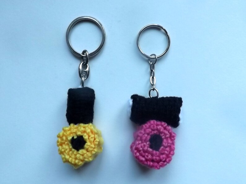 Key Ring Hand Knitted LIQUORICE ALLSORTS Novelty Key Ring Handbag Charm Purse Charm Pink or Yellow Funky Fun!! Gift Idea Hand Knitted