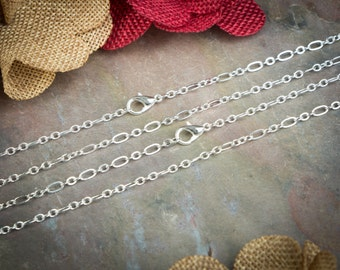 50 Silver Plated Necklaces / Figaro Style Links / Lobster Clasp / 18 20 22 24 28 Inch / Jewelry DIY chain / BULK chain / ZF350-50
