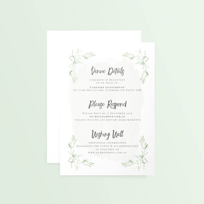 Recycled Simple Textured A5 Green Small PDF Customisable Printed Wedding Invitation /'Olive Branch/'