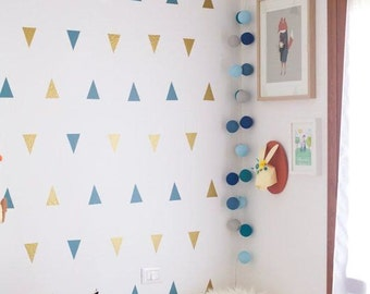 Colorful trianlges vinyl wallpaper, self adhesive, removable nursery mb058
