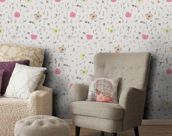 Flowers pattern vinyl wallpaper, self adhesive, removable nursery mb046