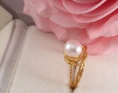 Vintage Jewellery Yellow Gold Ring with genuine White Pearl Antique Art Deco Dress Jewelry ring size 8 or Q