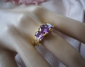 Antique vintage gold ring with trio of Amethyst Lavender stones ring size 7 or O
