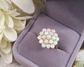 Antique Jewelry Art Deco Vintage Jewellery Yellow Gold Ring with White Opals Jewelry Dress Ring size 9 or S