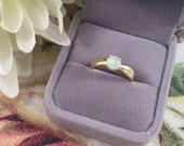 Vintage Art Deco Jewellery Yellow Gold Ring with Opal Antique Dress Jewelry Ring Size 6