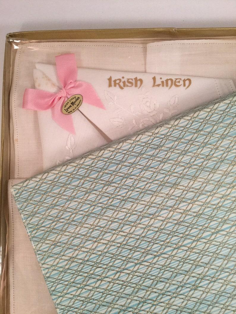 Boxed Vintage Handkerchiefs Hankies Hankys White Irish Linen in box Wedding Mother of the Bride Bridesmaids gifts Loom Master made Ireland