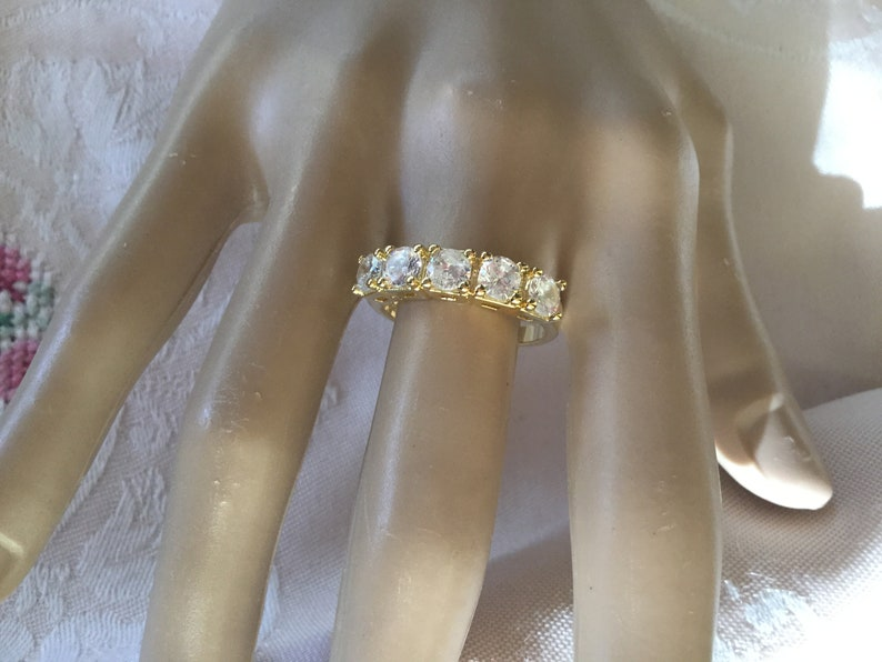 Antique Art Deco Vintage Jewellery Gold Band Dress Ring with Sapphire White Stones jewelry ring size 7 or O