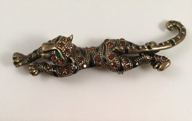 Large Vintage Leopard Panther Brooch Pin with Green Eyes for hats coats scarfs dresses jackets etc